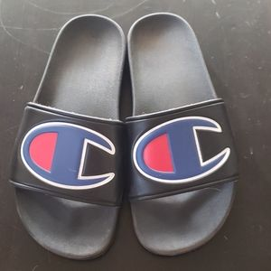 Champion IPO Black and Blue Slide Sandals